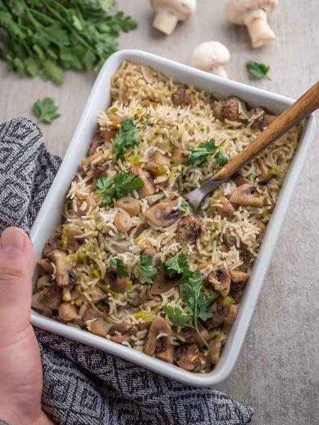 Przepis na Zapiekanka z ryżem i pieczarkami